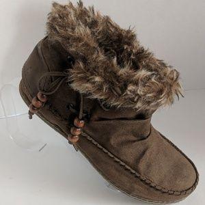 Fur Trim Boho Faux Suede Brown Moccasin Booties